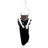 1980s Victor Costa vintage evening gown w/ beads sequins feathers