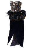1980s Victor Costa beaded sequined feather plume dress