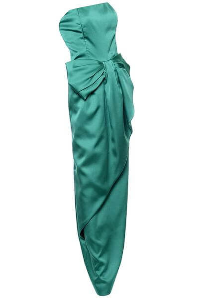 Green Victor Costa Satin Evening Gown