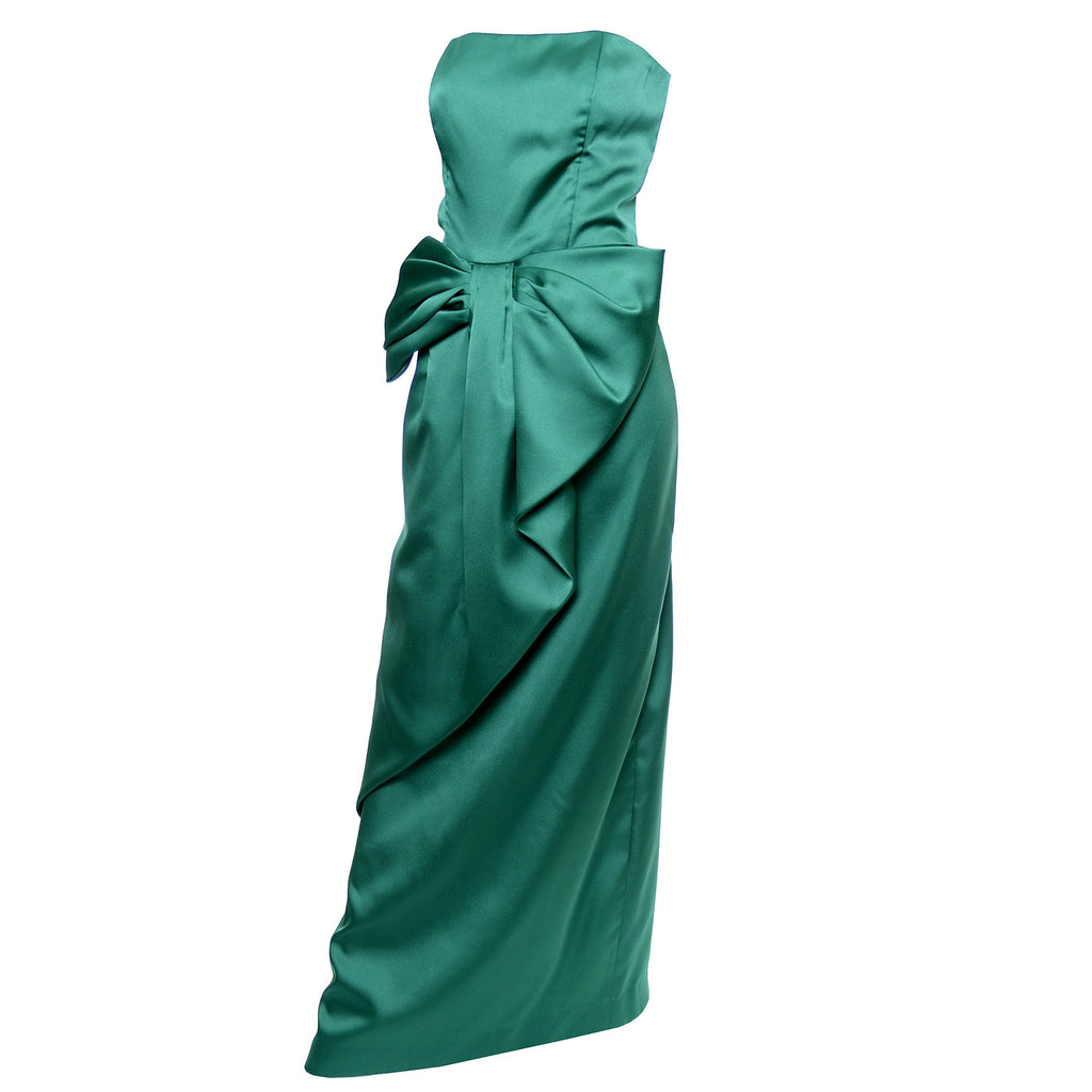 Green Satin Vintage Dress by Victor Costa
