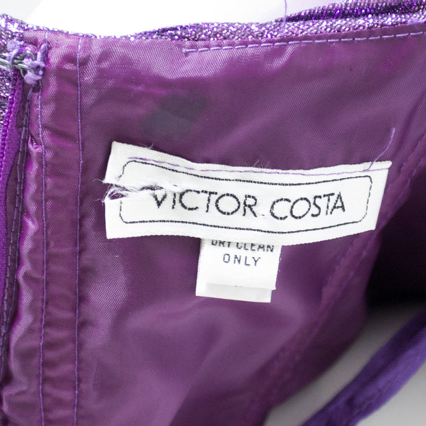 Victor Costa Purple Lame Vintage Evening Gown 1980s Dress - Dressing Vintage