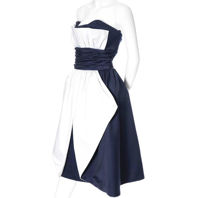 1980s Blue and white vintage Victor Costa Dress