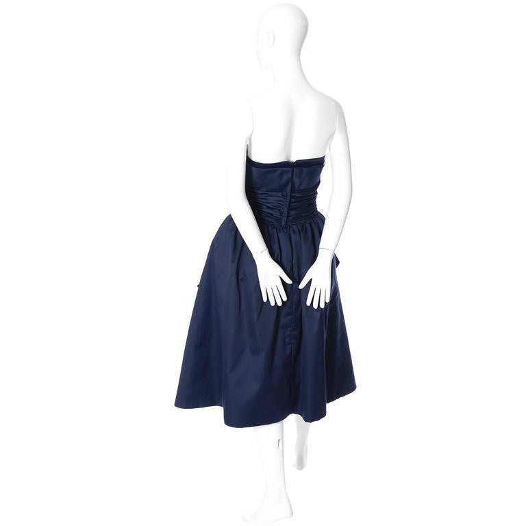 1980s Blue and white vintage Victor Costa strapless Dress
