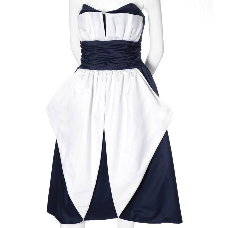 Blue and white 80s vintage Victor Costa Dress