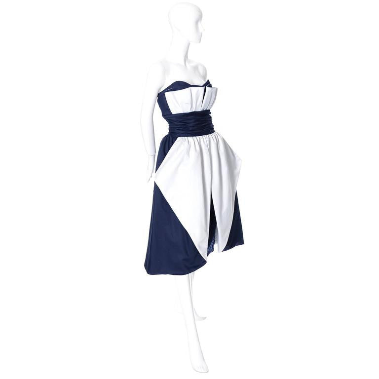 80's Blue and white vintage Victor Costa Dress