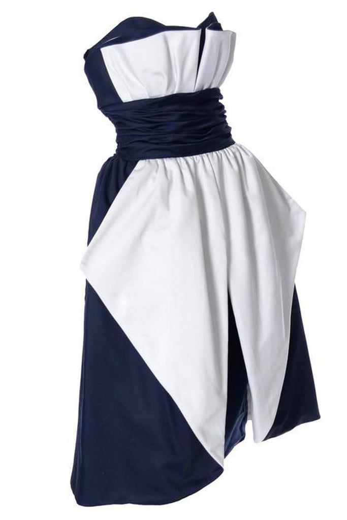 Blue and white 1980s vintage Victor Costa Dress