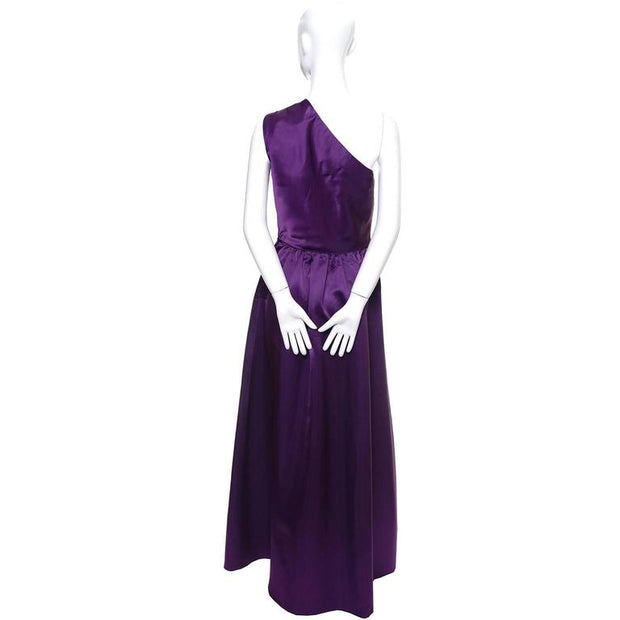 Victoria Royal Purple Satin Evening Gown w/ One Shoulder & Bow Size 4