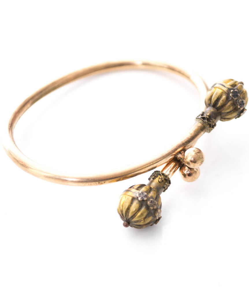 Victorian gold filled by pass bangle bracelet with floral detail