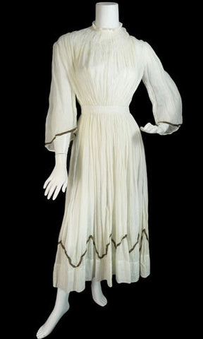 Victorian Ivory Vintage Dress with gold metallic trim - Dressing Vintage