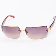 2000s Chanel Sunglasses W Purple Gradient Lenses & CC Monogram logo