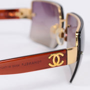 2000s Chanel Sunglasses W Purple Gradient Lenses & CC Monogram made in Italy
