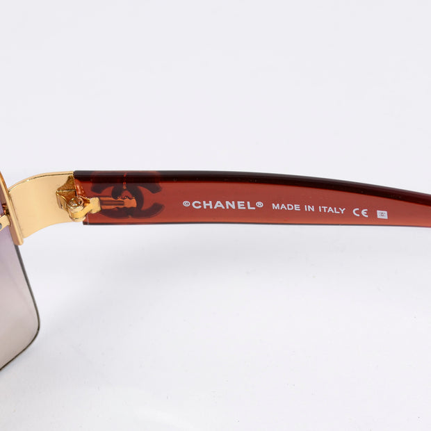 2000s Chanel Sunglasses W Purple Gradient Lenses & CC Monogram Italy