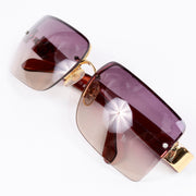 2000s Chanel Sunglasses W Purple Gradient Lenses & CC Monogram Square