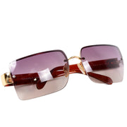 2000s Chanel Sunglasses W Square Purple Gradient Lenses & CC Monogram