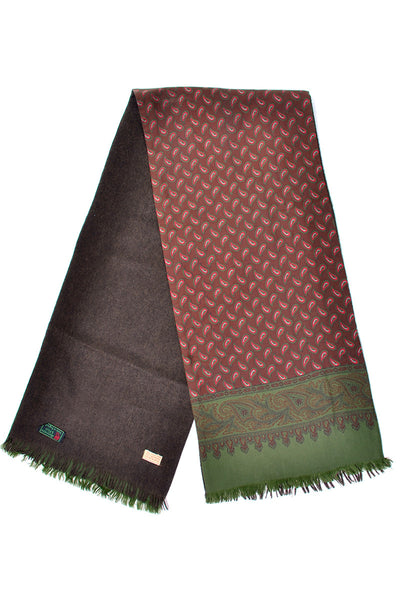 Paisley Silk and Brown Cashmere Wool vintage men's scarf