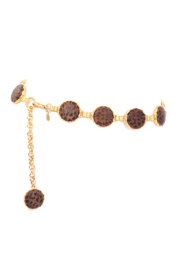 Animal Print Disc Gold Chain Belt