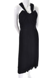 Vintage Black Dress Pleated Halter