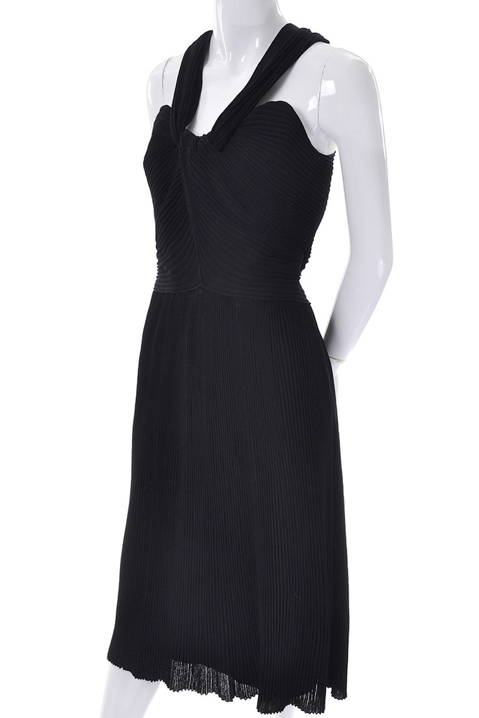 Vintage Black Dress Pleated little black dress