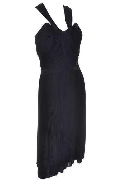 Vintage Black Cocktail Dress Pleated twist