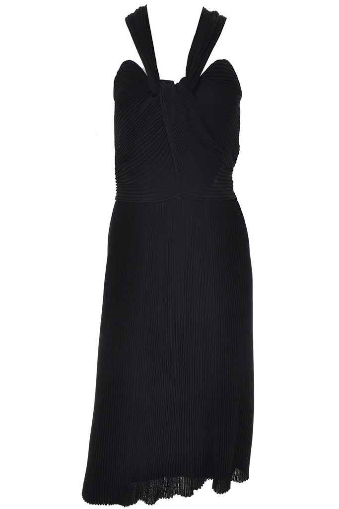 Vintage Black Dress Pleated Cocktail