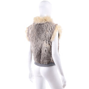 Vintage Cream Fox Fur and Rabbit Fur Zip Front Vest