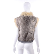 Late 1970s Vintage Finland Fox Fur Trimmed Dyed Rabbit Fur Zip Front Vest