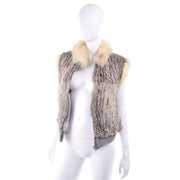 1970s Vintage Fox Fur and Rabbit Fur Zip Front Vest