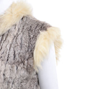 Vintage 1970s Cream Fox Fur and Rabbit Fur Zip Front Vest