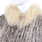 Vintage Cream Fox Fur and brown Rabbit Fur Zip Front Vest