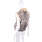 Vintage Fox Fur and Rabbit Fur Zip Front Vest 70s