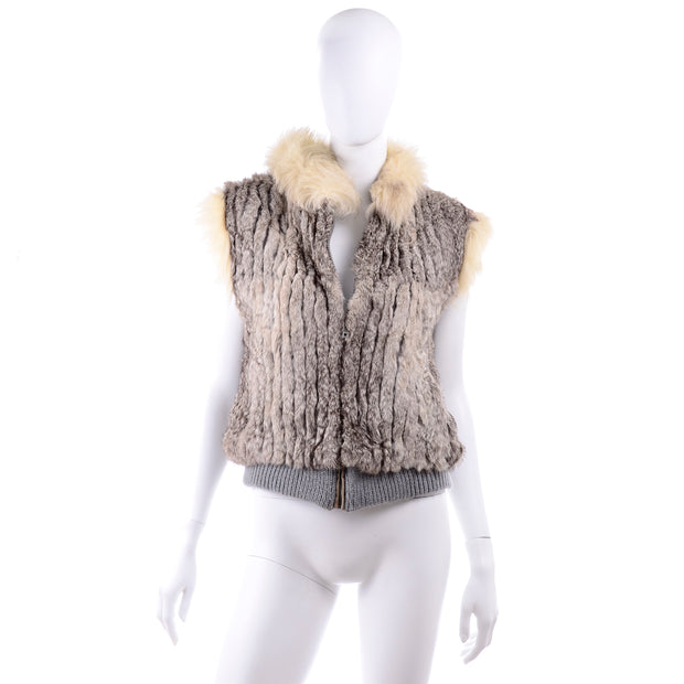 Vintage Fox Fur and Rabbit Fur Zip Front Vest 1970s