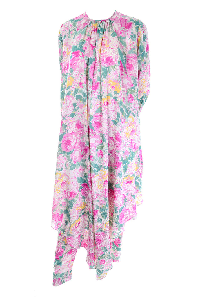 1980s floral caftan and pant ensemble