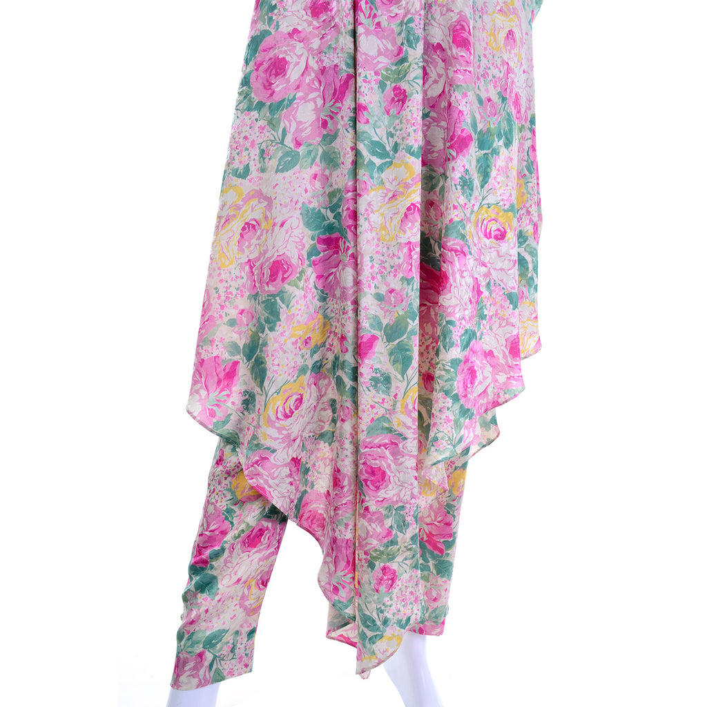 Floral caftan details - vintage caftan and pants size small