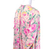 floral rose silk caftan and pant ensemble from 1980's