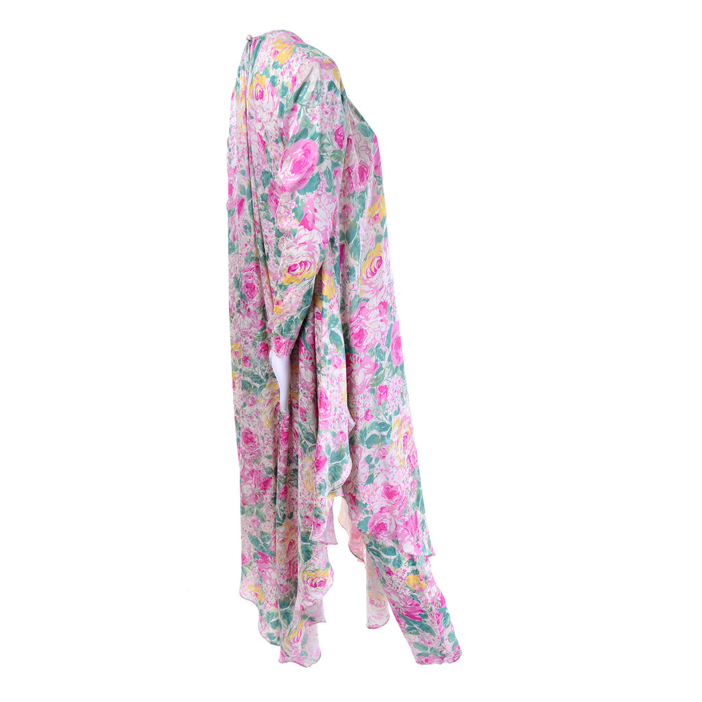 Asymmetrical vintage floral caftan with pants
