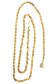 Gold Chain Link Belt with Hanging Cube Chain