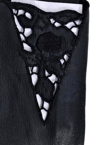 Vintage leather gloves open cutwork roses