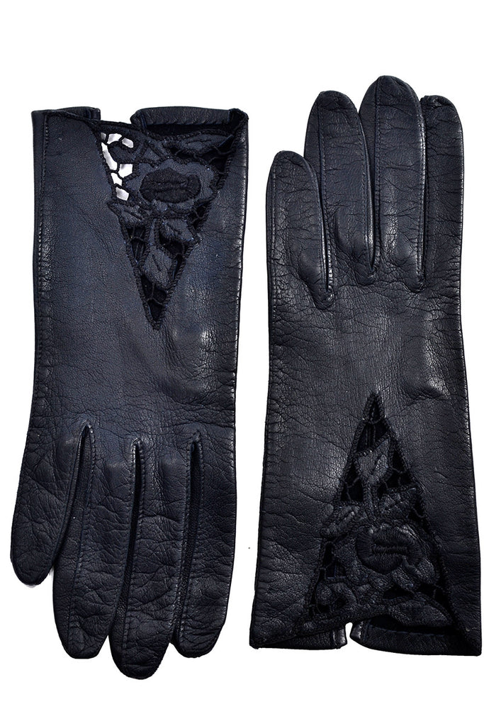Leather vintage gloves cutwork roses