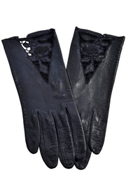 Vintage leather gloves with cutwork