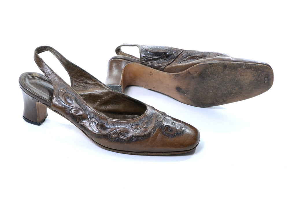 Vintage Tooled Leather Slingback Slides Made in Mexico Size 8