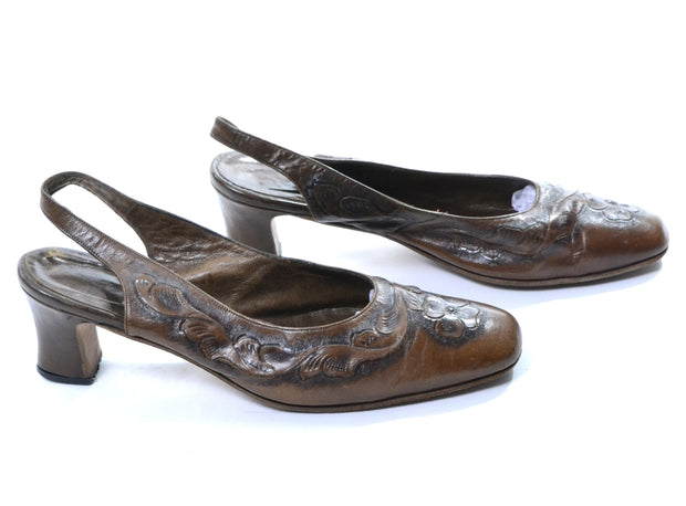 Vintage Tooled Leather Slingback Slides Made in Mexico Size 8 - Dressing Vintage