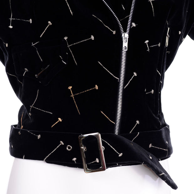 1988 Patrick Kelly Vintage Black Jacket w/ Gold & Silver Embroidered Nails