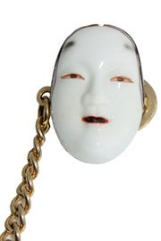 Vintage Japanese Noh Mask Hand Painted Porcelain Face Earrings & Sweater Guard rare