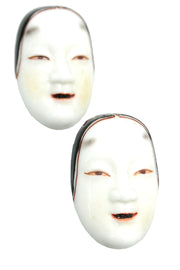 Vintage Japanese Noh Mask Hand Painted Porcelain Face screwback Earrings & Sweater Guard