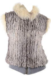 Vintage Fox Fur and Rabbit Fur Zip Front Vest