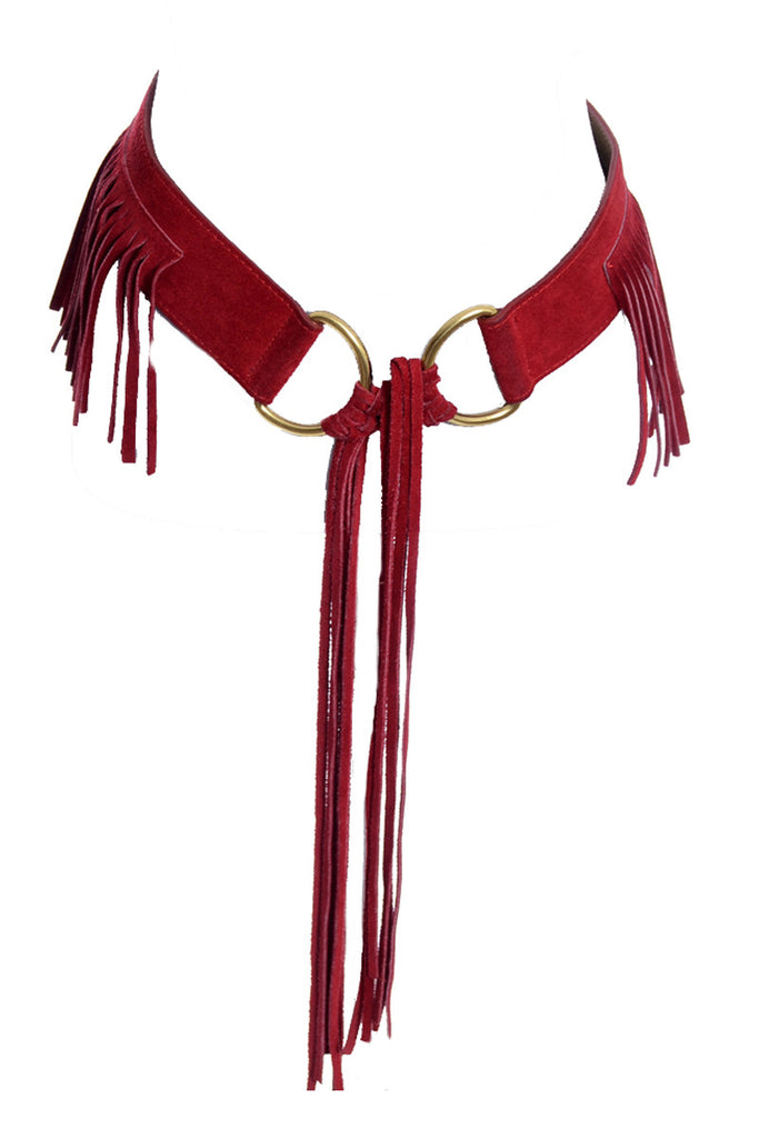 1970s 1980s vintage red fringe tie belt at Dressing Vintage