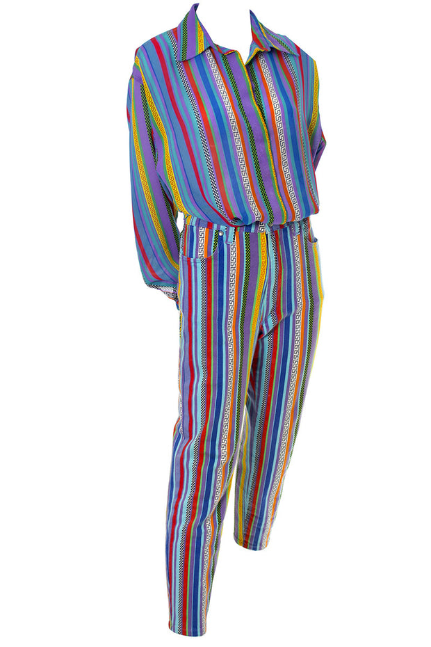 Versace Jeans Couture Striped Vintage Pants and Silk Blouse Outfit 1990s - Dressing Vintage