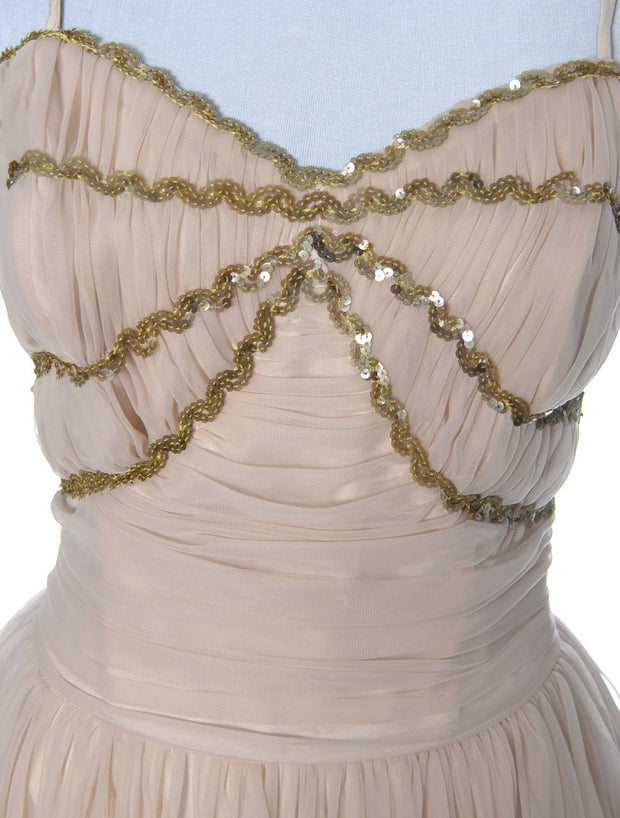 Cinderella Buff Pink Vintage Dress Late 1940's Early 1950's Organza Sequins SOLD - Dressing Vintage