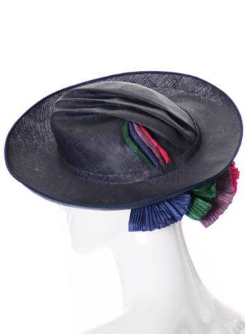G Howard Hodge Blue straw vintage mid century hat with colorful details - Dressing Vintage
