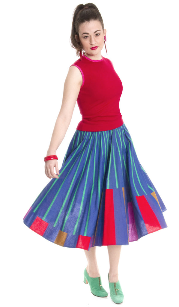 Vintage full circle colorful skirt